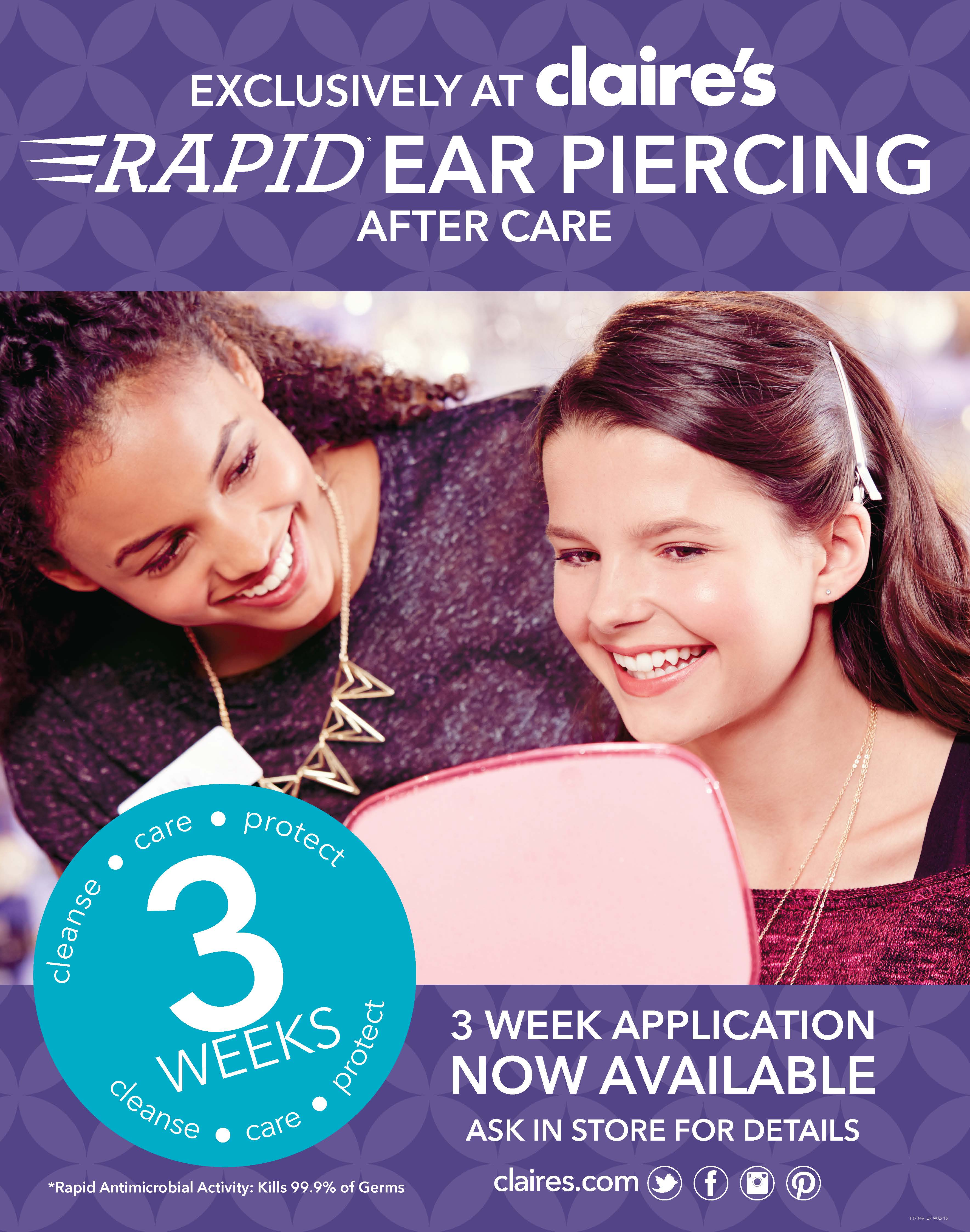 Ear Piercing At Claire S This Half Term Maltings St Albans Shopping Centre